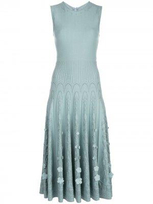 Трикотажное платье без рукавов Oscar de la Renta. Цвет: синий