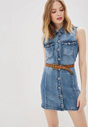 Платье джинсовое G&G. Цвет: голубой
