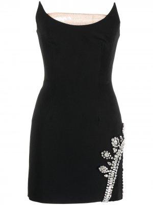 Декорированное платье мини David Koma. Цвет: черный