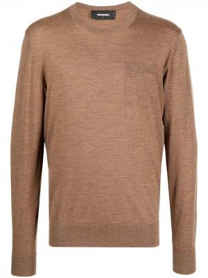 Пуловер с логотипом Dsquared2. Цвет: коричневый