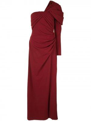 Платье на одно плечо с драпировкой Tadashi Shoji. Цвет: красный
