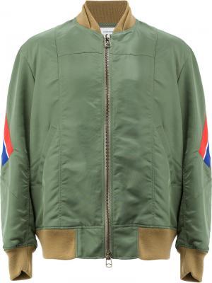 Куртка-бомбер на молнии Facetasm. Цвет: зеленый