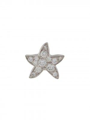 Единичная серьга в форме морской звезды из белого золота Dodo. Цвет: серебристый