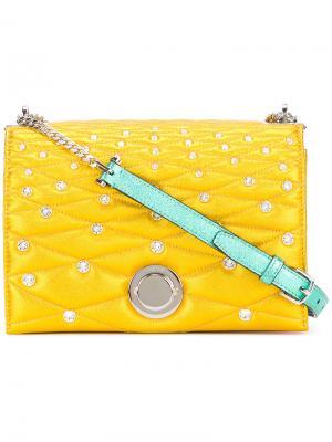 Стеганая декорированная сумка через плечо Bally. Цвет: жёлтый и оранжевый