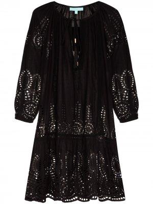 Платье мини Ashley с английской вышивкой Melissa Odabash. Цвет: черный