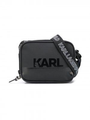 Сумка на плечо с логотипом Karl Lagerfeld Kids. Цвет: черный