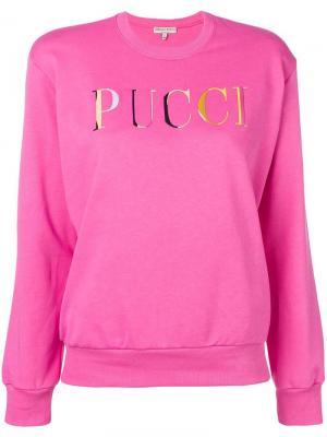 Свитшот с вышитым логотипом Emilio Pucci. Цвет: розовый
