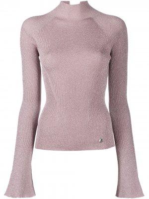 Блузка в рубчик с высоким воротником LANVIN. Цвет: розовый
