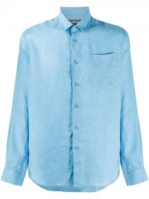 Однотонная рубашка Vilebrequin. Цвет: синий