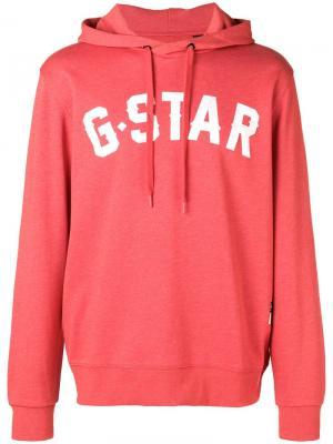 Толстовка с капюшоном и логотипом G-Star Raw Research. Цвет: красный