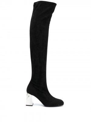 Ботфорты на каблуке с эффектом металлик Giuseppe Zanotti. Цвет: черный