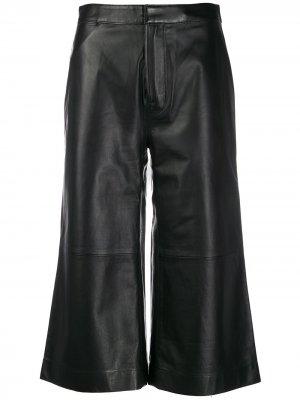 Укороченные брюки широкого кроя FRAME. Цвет: черный