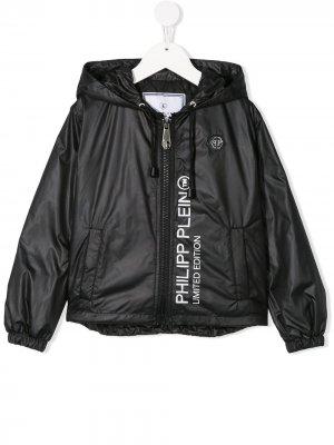 Куртка с капюшоном и логотипом Philipp Plein Junior. Цвет: черный