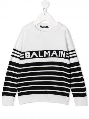 Свитер с логотипом Balmain Kids. Цвет: белый