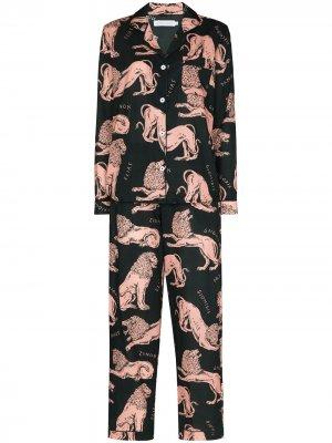 Пижамный комплект с принтом Desmond & Dempsey. Цвет: зеленый