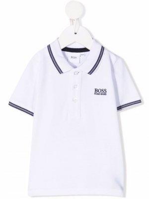 Рубашка поло с вышитым логотипом BOSS Kidswear. Цвет: белый