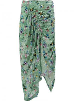 Юбка с драпировками и цветочным рисунком Preen By Thornton Bregazzi. Цвет: зеленый