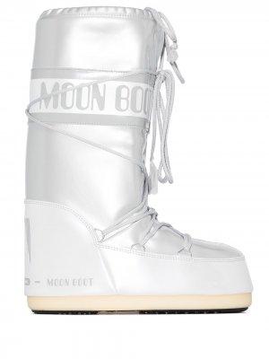 Дутые ботинки на плоской подошве Moon Boot. Цвет: белый