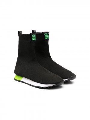 Кроссовки-носки с логотипом Dkny Kids. Цвет: черный