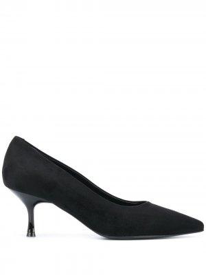 Туфли-лодочки на низком каблуке Pollini. Цвет: черный