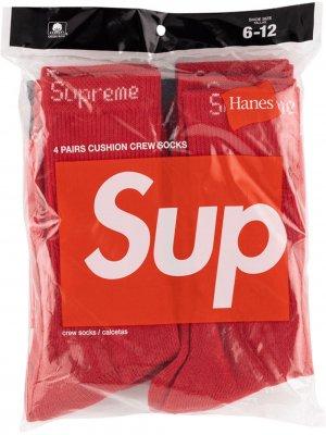 Носки с вышитым логотипом Supreme. Цвет: красный