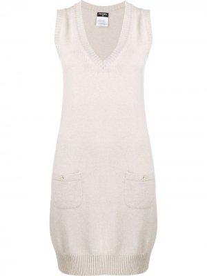 Вязаное платье 2010-х годов без рукавов Chanel Pre-Owned. Цвет: нейтральные цвета