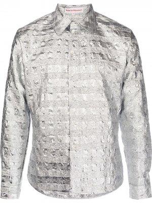 Рубашка с эффектом металлик Walter Van Beirendonck. Цвет: серебристый