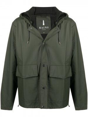 Непромокаемая куртка с капюшоном Rains. Цвет: зеленый