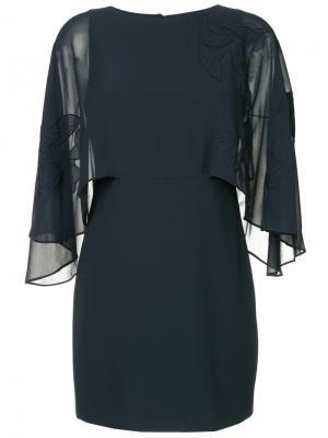 Платье с рукавами в стиле оверсайз Halston Heritage. Цвет: синий