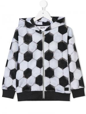 Football print zipped hoodie Molo. Цвет: серый