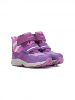 Ботинки с ремешками на липучках Geox Kids. Цвет: фиолетовый