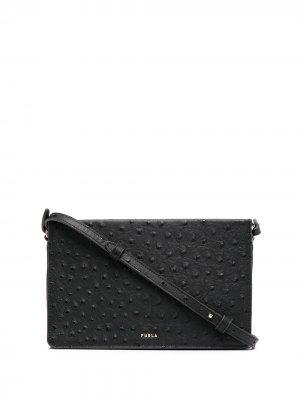 Фактурная сумка через плечо на молнии Furla. Цвет: черный