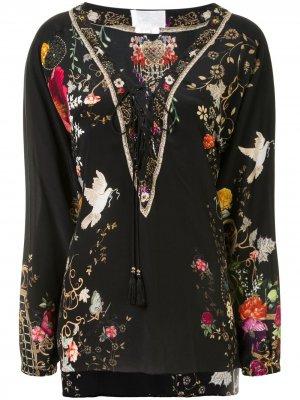 Блузка со шнуровкой Camilla. Цвет: черный