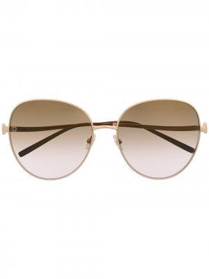 Солнцезащитные очки ES04 в круглой оправе Elie Saab. Цвет: золотистый