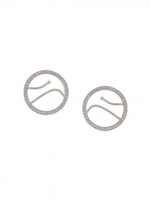 Декорированные серьги-кольца Alan Crocetti. Цвет: серебристый