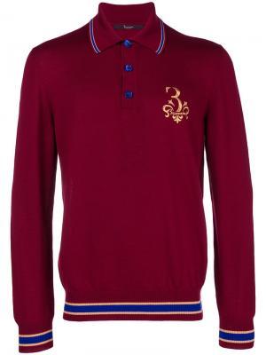 Трикотажная рубашка-поло с вышивкой Billionaire. Цвет: красный