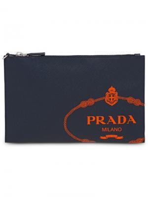 Папка для документов из кожи Saffiano Prada. Цвет: синий