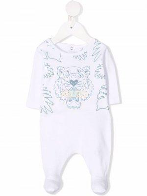 Пижама с вышитым логотипом Kenzo Kids. Цвет: белый
