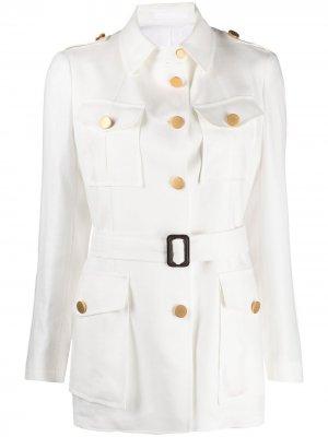 Однобортная куртка в стиле милитари Tagliatore. Цвет: белый