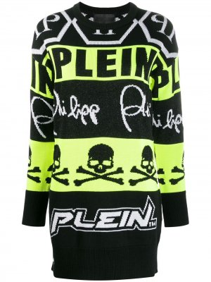 Вязаное платье-джемпер Philipp Plein. Цвет: черный