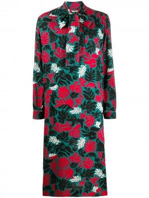 Платье-трапеция с принтом и бантом Marni. Цвет: зеленый