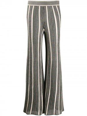 Расклешенные брюки с эффектом металлик M Missoni. Цвет: зеленый