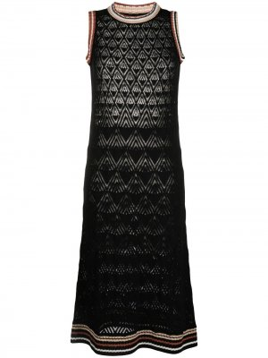 Платье с узором шеврон Roberto Collina. Цвет: черный