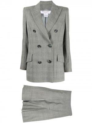 Костюм pre-owned с двубортным пиджаком и юбкой Christian Dior. Цвет: серый
