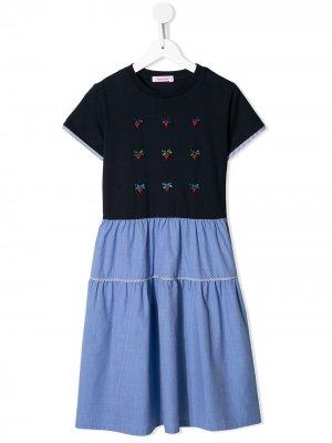 Расклешенное платье из джерси и шамбре Familiar. Цвет: синий