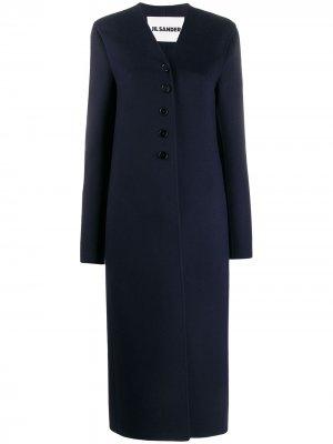 Длинное однобортное пальто Jil Sander. Цвет: синий