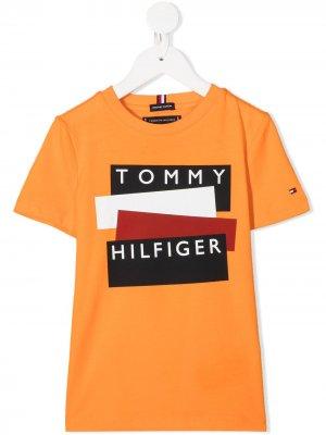 Футболка с короткими рукавами и логотипом Tommy Hilfiger Junior. Цвет: оранжевый