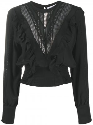 Полупрозрачная блузка со вставками IRO. Цвет: черный