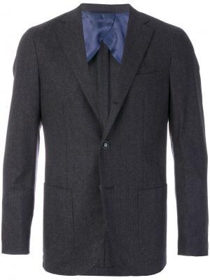 Классический приталенный пиджак Barba. Цвет: серый