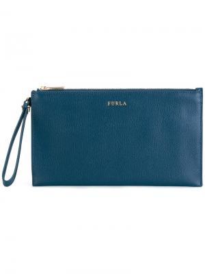 Клатч на молнии Furla. Цвет: синий